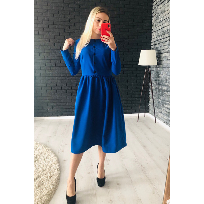 Women Vintage Front Button A-line Party Dress Long Sleeve O Neck Solid Casual Elegant Mid Dress 2019 Autumn New Fashion Dress