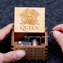 New Wooden Hand Crank Queen Music Box You Are My Sunshine Halloween Christmas Birthday Favors Gift For Kids