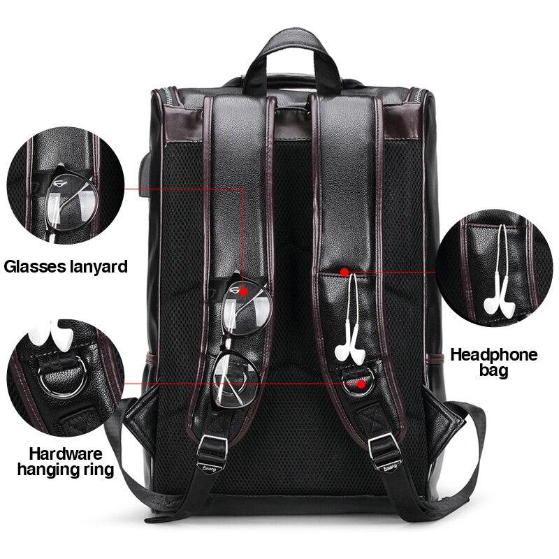 JIULIN sac à dos en cuir hommes ordinateur portable voyage sac à dos 15 pouces étanche sac à dos pour ordinateur portable USB collège Bookbag hommes mochila hombre - 2