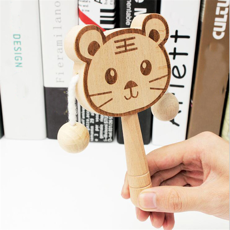 Baby Toys 0-12 Months Beech Wood Cartoon Animal Rattles Early Childhood Music Toy Infant Pacify Toys Montessori Stroller Toys