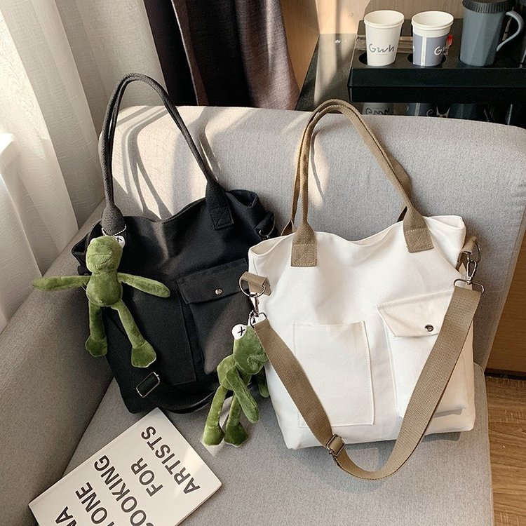 Winter New Style Toth Canvas Bag WOMEN'S Bag Fashion Korean-style WOMEN'S Bag Simple One-Shoulder Oblique Bag Handbag Bag(China)
