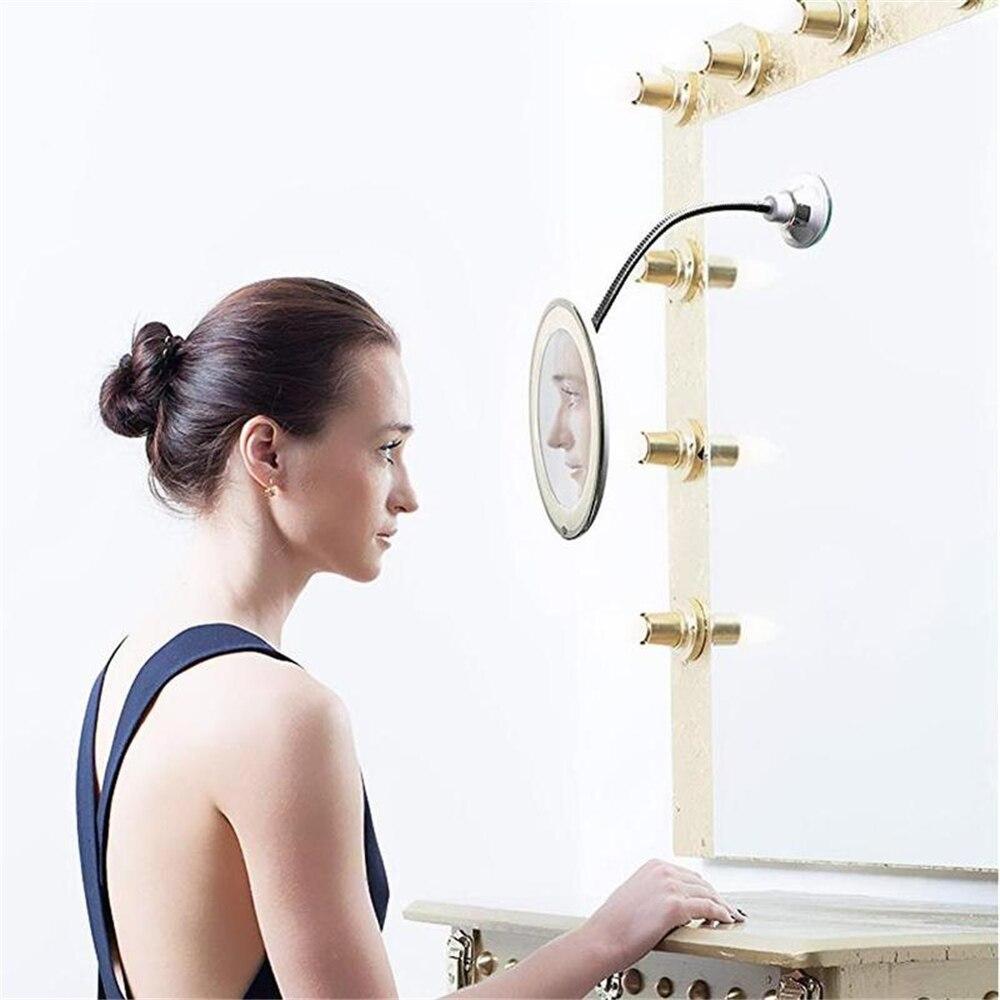 360 rotação espelho lâmpada 10x ampliação led