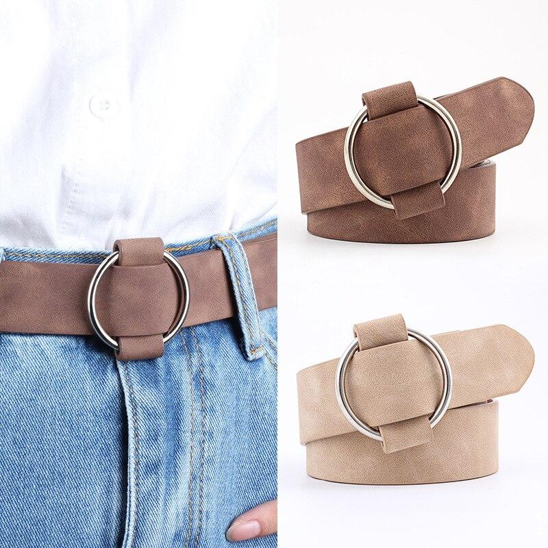 Fashion Women Belt Quality Imitation Leather Women Wide Belt Needle-free Round Buckle Casual Youth Female Belt Kids Belt