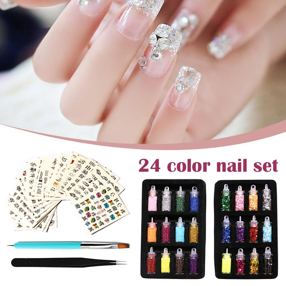 Nail Sequins Colorful Glitter Powder Sticker Manicure Nail Art Decals With Tweezers For Women Nail Tools Beauty Makeup Cosmetic