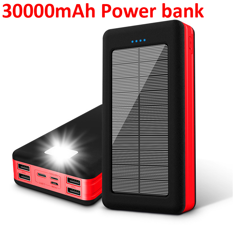 <font><b>30000mAh</b></font> <font><b>Solar</b></font> Charger <font><b>Power</b></font> <font><b>Bank</b></font> Phone External Battery Charger Outdoor Travel Emergency Charger for Xiaomi Samsung Smartphones image