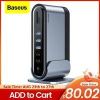 Baseus-concentrador de red USB tipo C, 17 en 1, Multi HDMI, RJ45, VGA, USB 3,0, PD, adaptador de corriente, estación de acoplamiento para MacBook Pro, portátil, USB-C HUB