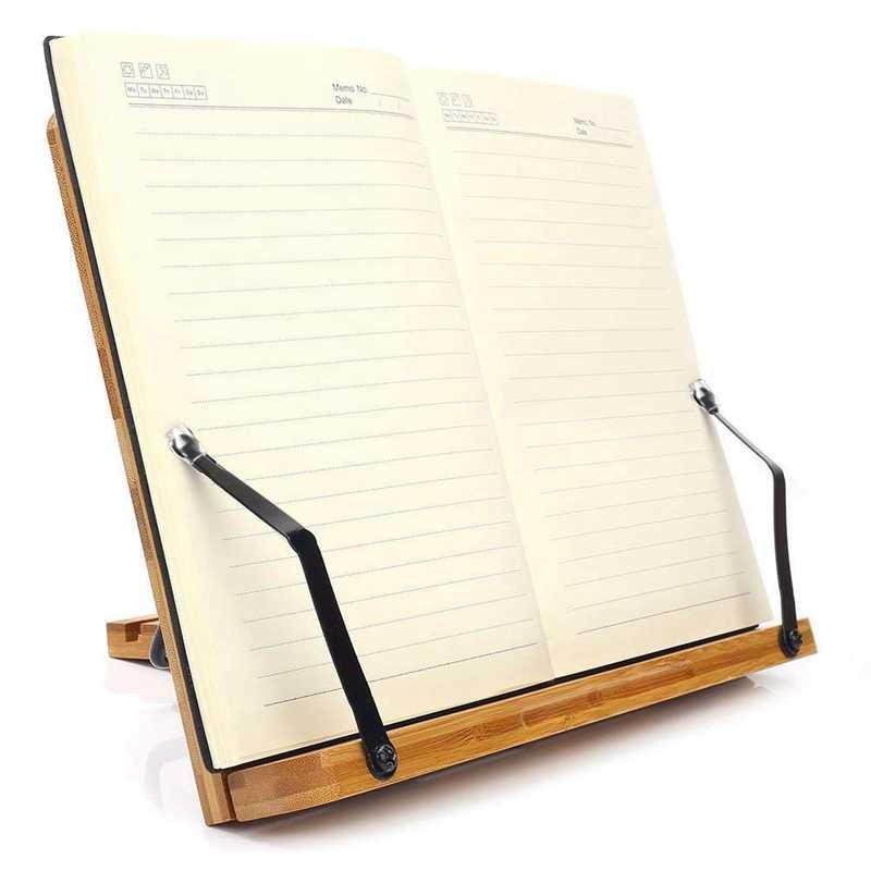 Bandeja de soporte de libro ajustable y Clips de papel de página-escritorio de lectura de libros portátil resistente soporte ligero-Libros de Texto St
