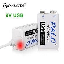 Palo 9 V 6F22 Batterij Met Usb 650Mah 9 Volt Lithium Li-Ion Oplaadbare Batterij Voor Multimeter Ktv Microfoon Afstandsbediening controle Speelgoed