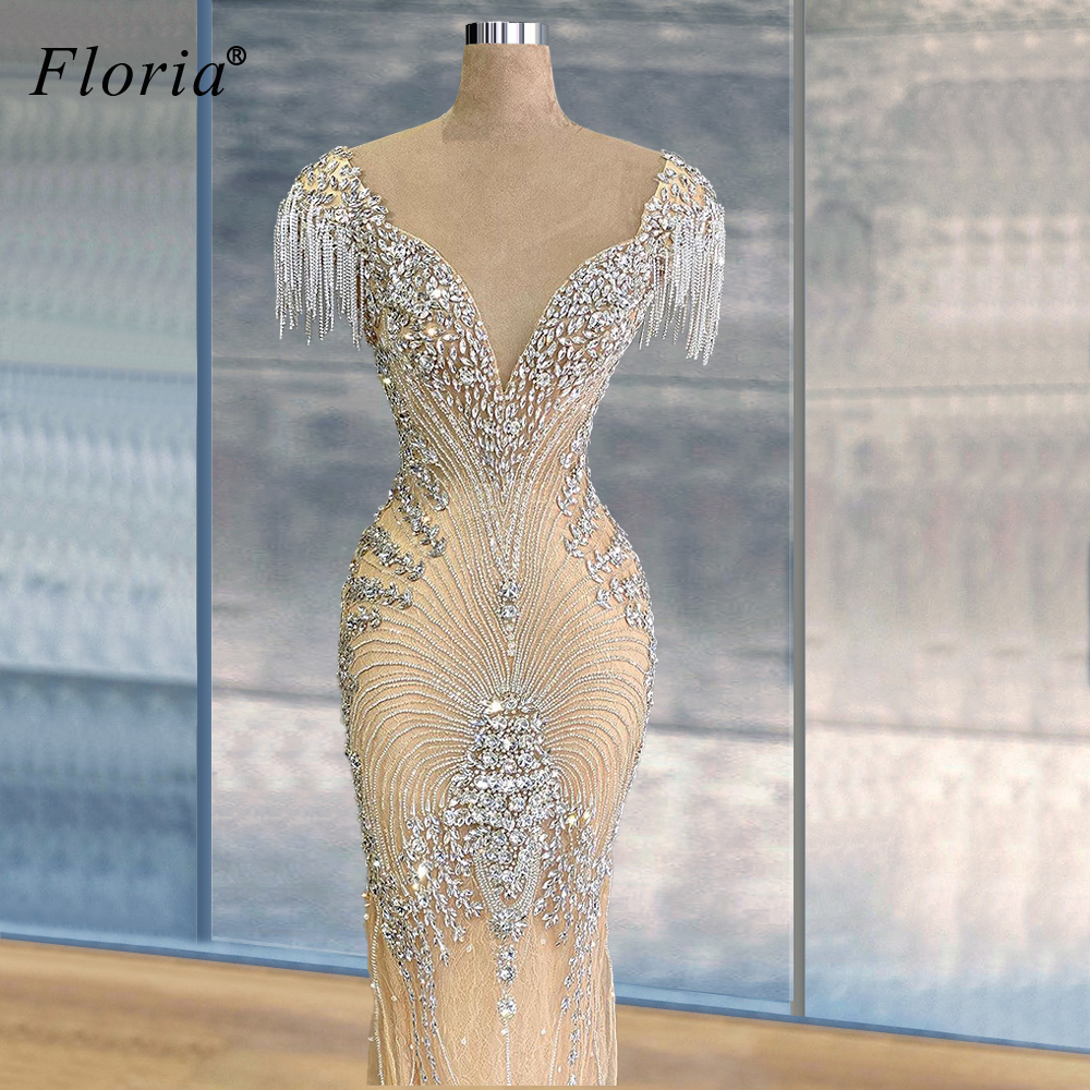 2020 Newest Prom Dresses Mermaid Sexy Arabic Evening Gowns Beading Celebrity Dresses Wedding Party Dresses Formelle Robes Custom