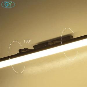 Image 4 - Schwarz L35/45/60/70/80/100cm FÜHRTE Wand licht Badezimmer Spiegel Lampe, 110V 220V wand Lampe leuchte für schrank, waschraum wandleuchter