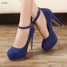 Shoes women 2020 High Heels Chunky Shoes Woman Buckle Strap Platform Pumps Round Toe Shallow party dress shoes Work Shoes z351