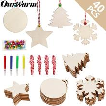 OurWarm 40Pcs Unfinished Wooden Christmas Ornaments DIY Crafts Decorations for Tree Hanging Pendants New Year Gifts