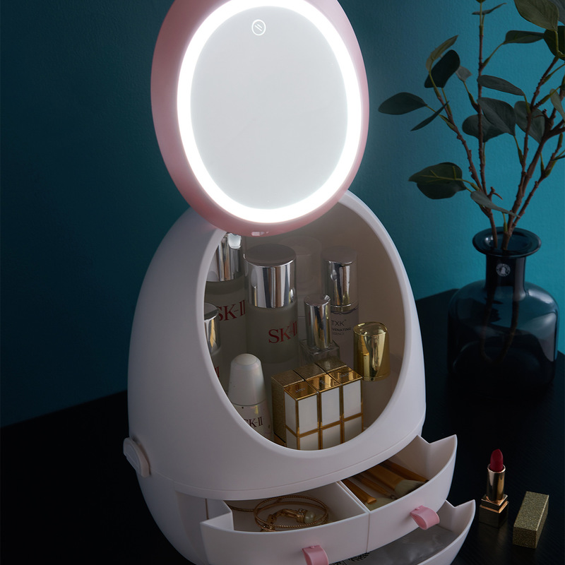 LED Mirror Dressing Case Portable Dresser Skin Care Jewelry Dust-proof And Waterproof Receptacle Box Mobile Cosmetic Room