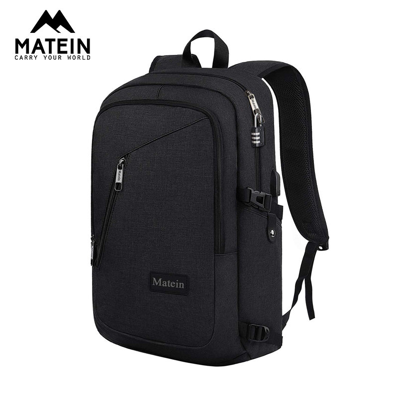 Matein Anti Theft 25L Laptop Backpack 15.6inch Men Backpack Black Women Backpack Mochila Laptop Bag Female Male School Backpack