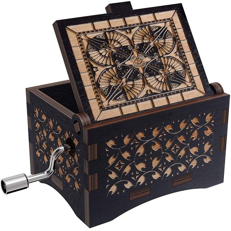 Manivela caixa de música de madeira gravado vintage original antigo decoração caixa de música decoração para casa artesanal bugiganga decorativo