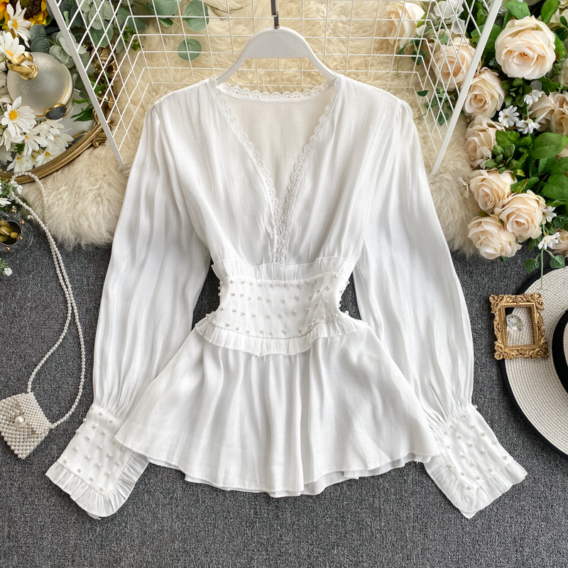 Women Work OL Shirt 2020 Spring New Fashion Pearl Sexy V Collar Thin Solid Color Elegant Tops Blouse L447