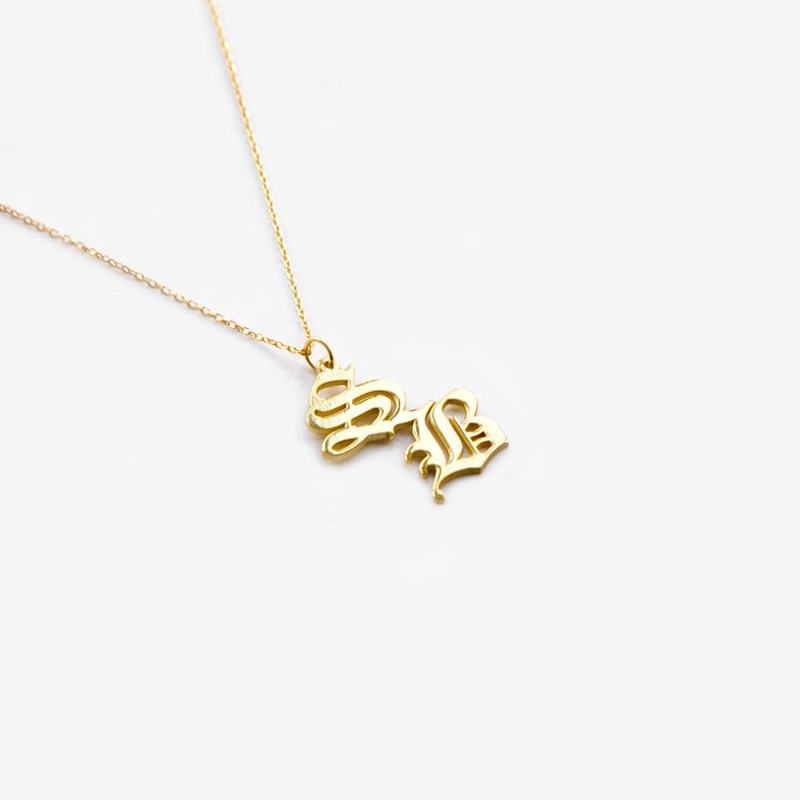 Custom Old English Double Letters Necklace Silver Gold Chain Stainless Steel Customized Double Initial Necklace Gift For Women