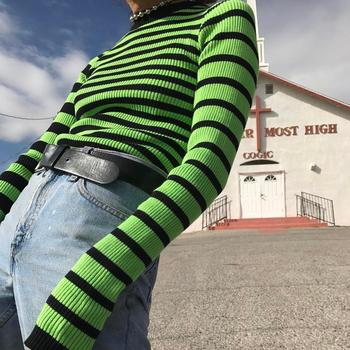 Harajuku Contrast Greenery Striped Ribbed Crop Top Jumper Fitted Long Sleeve Pullover Knit Women's Sweater / solid ribbed knit roll neck jumper