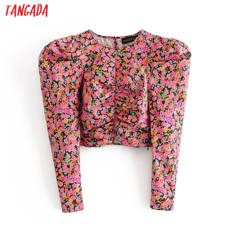Tangada Women Retro Rose Print Crop Blouse Puff Long Sleeve Chic Female Casual Slim Shirt Blusas Femininas 3h372