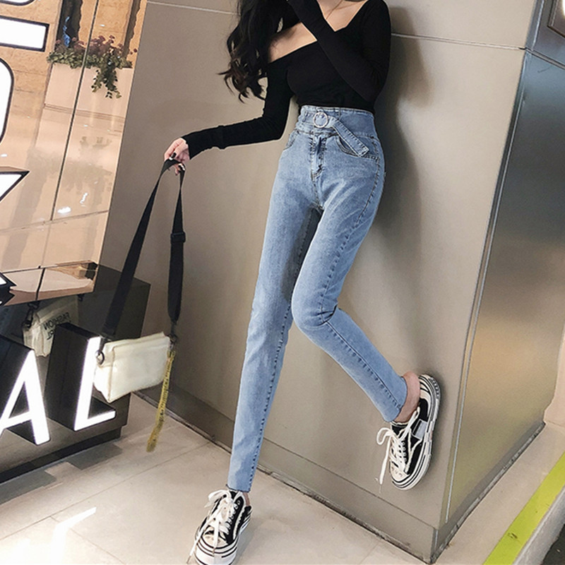 Woman Skinny Jeans High Waist Clothes Blue Denim Clothing Streetwear Vintage Quality 2020 Stretch Fashion Harajuku Sale Items