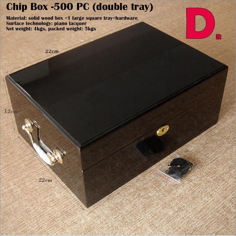 500 Black Diamond Poker Chip Set With High Gloss Wooden Case Poker Sets