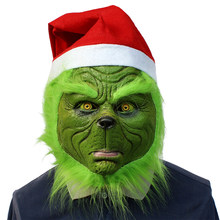 Christmas Monster Mask Green-haired Grinch Latex Headset Ball Party Funny Carnival Masks For Costume Party(China)