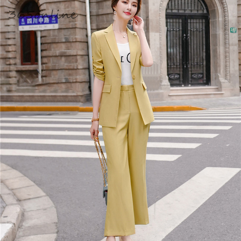 Formal Women Business Suits With Big Pants And Jackets Coat Foor Women Business Work Wear OL Professional Blazers Pantsuits
