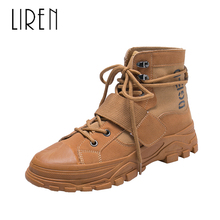 Liren 2019 Spring/Autumn Women Fashion Casual Ankle Lace-up Boots Round Wrapped Toe Flat Heels Comfortable Lady Casual Boots liren 2019 spring autumn fashion casual women boots lace up round toe flat heels ankle flat med high heels comfortable boots