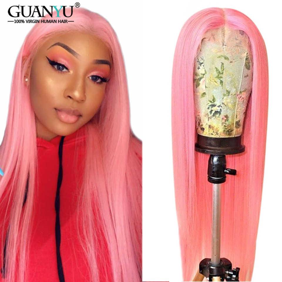Kırmızı dantel ön İnsan saçı peruk 13X4/6 brezilyalı Remy Ombre sarışın 1B 613 pembe yeşil mavi mor renkli peruk koyu kökleri