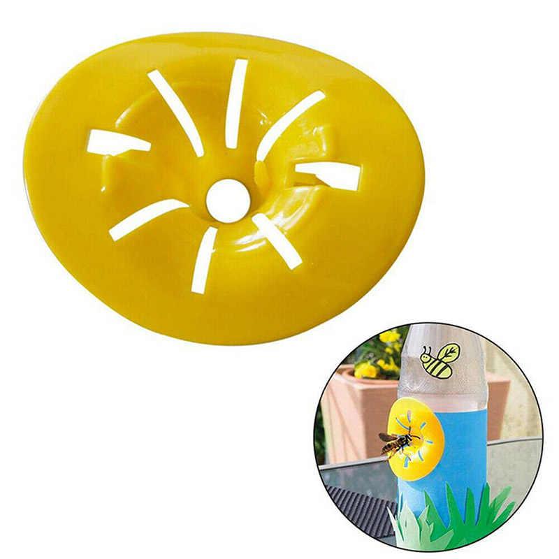 10 Buah/Set Mini Bunga Berbentuk Lebah Penangkap Tidak Beracun Plastik Kuning Wasp Perangkap Rumah Serangga Corong Outdoor Garden Tools 6.5X7 Cm