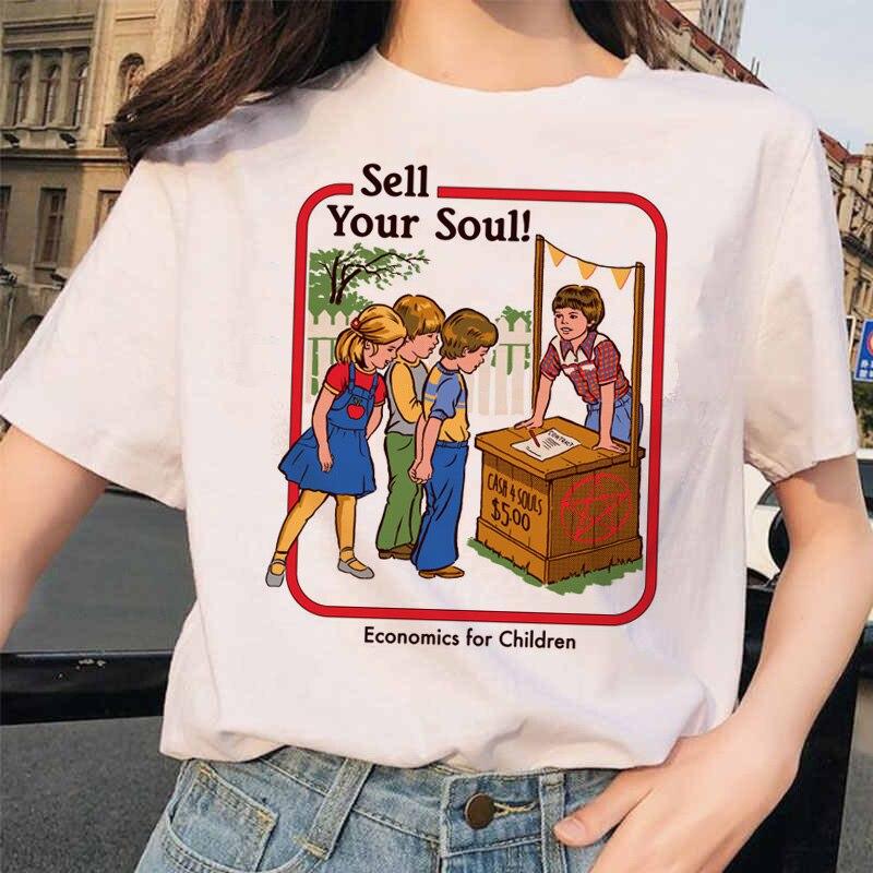 Mulher tshirts topo demônio mulher t camisa harajuku assustador dos desenhos animados dos homens topos chique ullzang grim mal série camiseta feminino streetwear