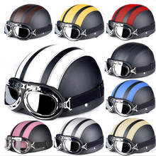 Motorcycle Helmet Scooter Open Face Half Leather With Visor UV Goggles Retro Vintage Style Motocross