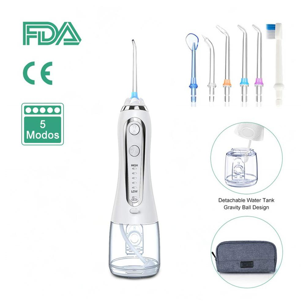5 Modes Oral Irrigator 300ml Portable USB Rechargeable Dental Water Flosser Jet Waterproof Irrigator Dental Teeth Cleaner+5 Tips