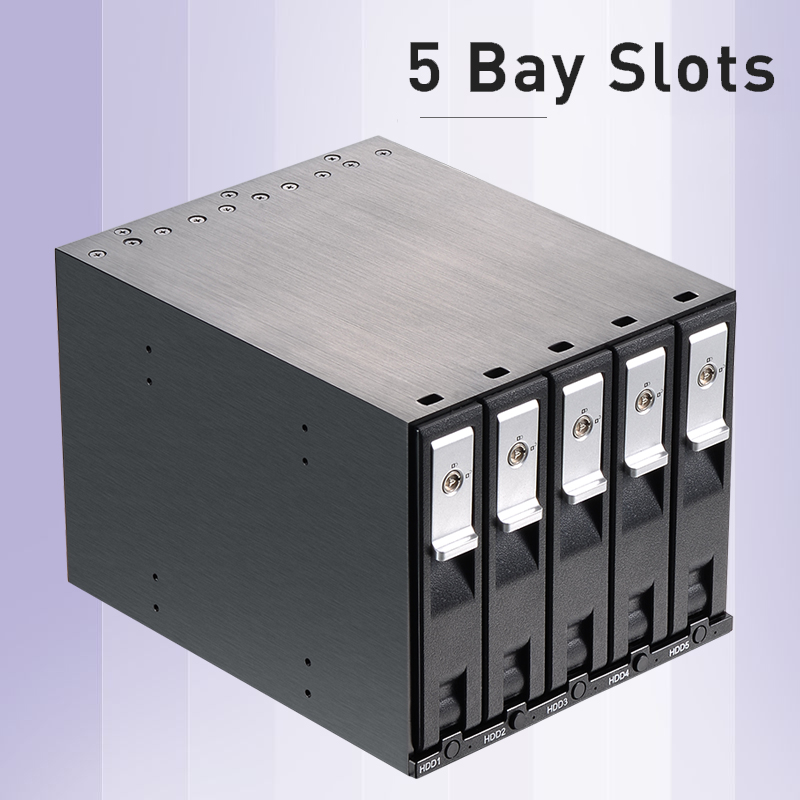 Uneatop Aluminum 5-bay Slot 3.5in SATA Tray-less Hot Swap Backplane Internal Enclosure For 3.5in SATA HDD Mobile Rack