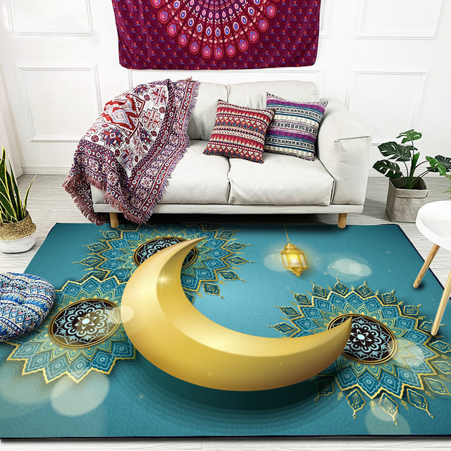 הרמדאן קארים מוסלמי שטיח לסלון האיסלאם תפילה ללא שטיחים להחליק ירח מגדלור הכנסייה מחצלת כיסא כרית 3D שטיחים