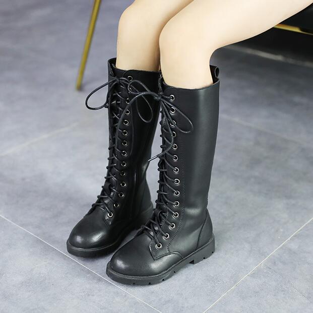 Chaussures d'hiver pour enfants princesse Martin bottes filles en peluche bottes sur le genou enfants chaud mode bottes en cuir Style dentelle