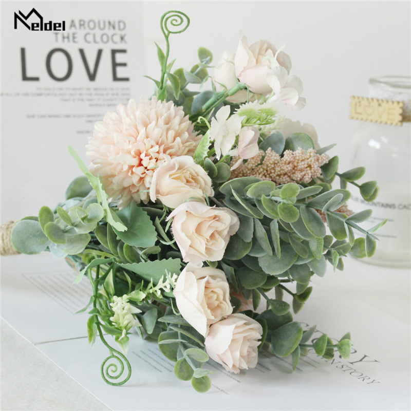 Meldel Wedding Fake Roses Bridesmaid Bouquets Artificial Hotel Table Decor Fake Silk Flower Wedding Bride Holding Floral Bouquet