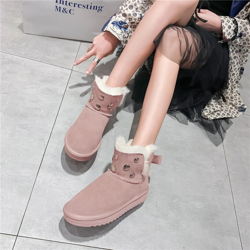 MORAZORA 2020 new hot sale snow boots comfortable flat heel round toe rivets winter shoes keep warm sweet pink ankle boots women 57