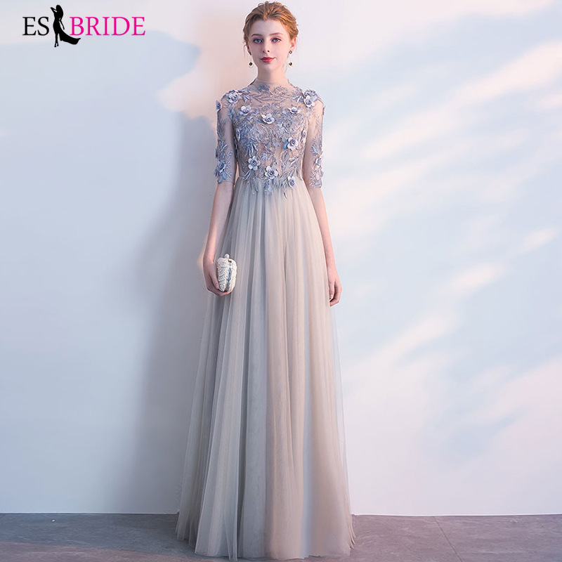 Elegant Evening Dresses Long ES30014 Lace Half Sleeve A-Line V-Neck Evening Gowns Vestido Largo