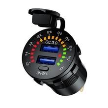 QC 3.0 36W USB מטען מהיר מטען אופנוע כפולה USB מטען שקע LED הבהוב עם כפתור מתג למסלול סירת DVR GPS