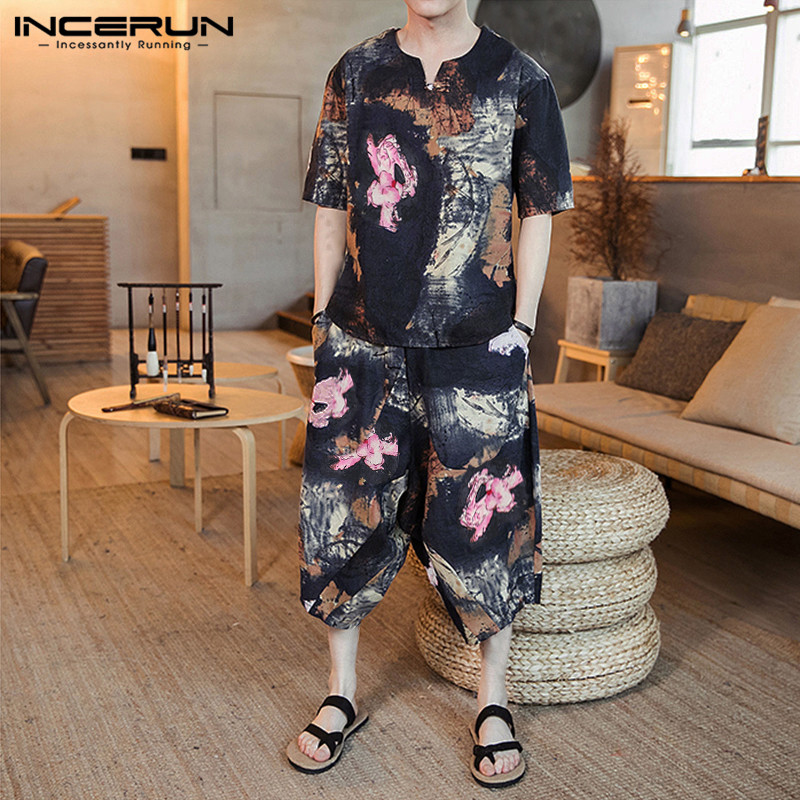 INCERUN Printed Men Sets Casual Short Sleeve V Neck Shirt Elastic Waist Pants Streetwear Vintage Chinese Style Men Sets 2 Pieces