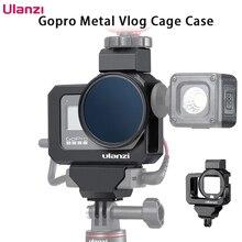 Металлический Чехол клетка Ulanzi для Gopro 8, черный чехол с холодным башмаком и адаптером для микрофона со светодиодсветильник кой, адаптер для микрофона на аккумуляторе Gopro