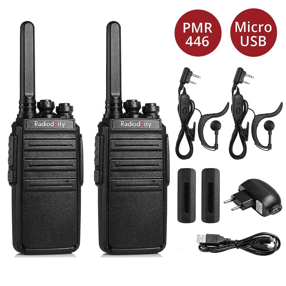 Radioddity 2 Stücke GA-2S PMR Walkie Talkie Set Reichweite 16 Kanäle Lizenzfreies Profi-Funkgerät Wiederaufladbar Mit Headset