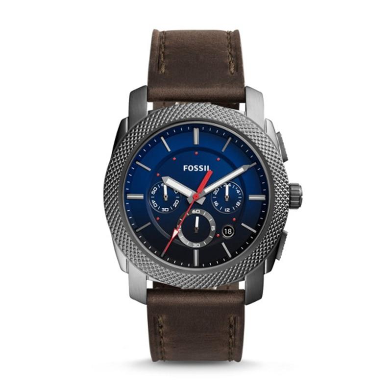 FOSSIL Machine Chronograph Gray Leather Watch Vintage Watch for Men Luxury Brand Men Wrist Watch reloj fossil hombre FS5388P