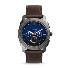 FOSSIL Machine Chronograph Gray Leather Watch Vintage for Men Luxury Brand Wrist reloj fossil hombre FS5388P