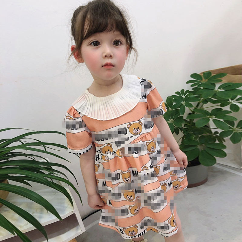 Fashion Baby Girls Short Sleeve Dresses Summer Toddler Kids Girls Casual Dress Girl Cartoon Bear Clothes Children Princess Dress