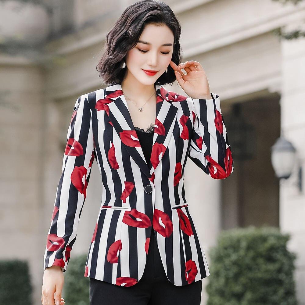 Floral Printing Blazer 4XL Plus Size Jacket Coat 2020 Spring Long Sleeve Women's Office Black Stripe Jacket Outwear 801353 - 2