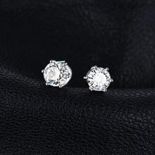Sterling Silver White Topaz Stud Fashion Earrings Jewelry