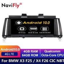 Reproductor Multimedia con GPS para BMW, reproductor DVD con pantalla IPS de 8 núcleos, Android 10, audio estéreo, navegador estéreo, para BMW X3 F25 X4 F26