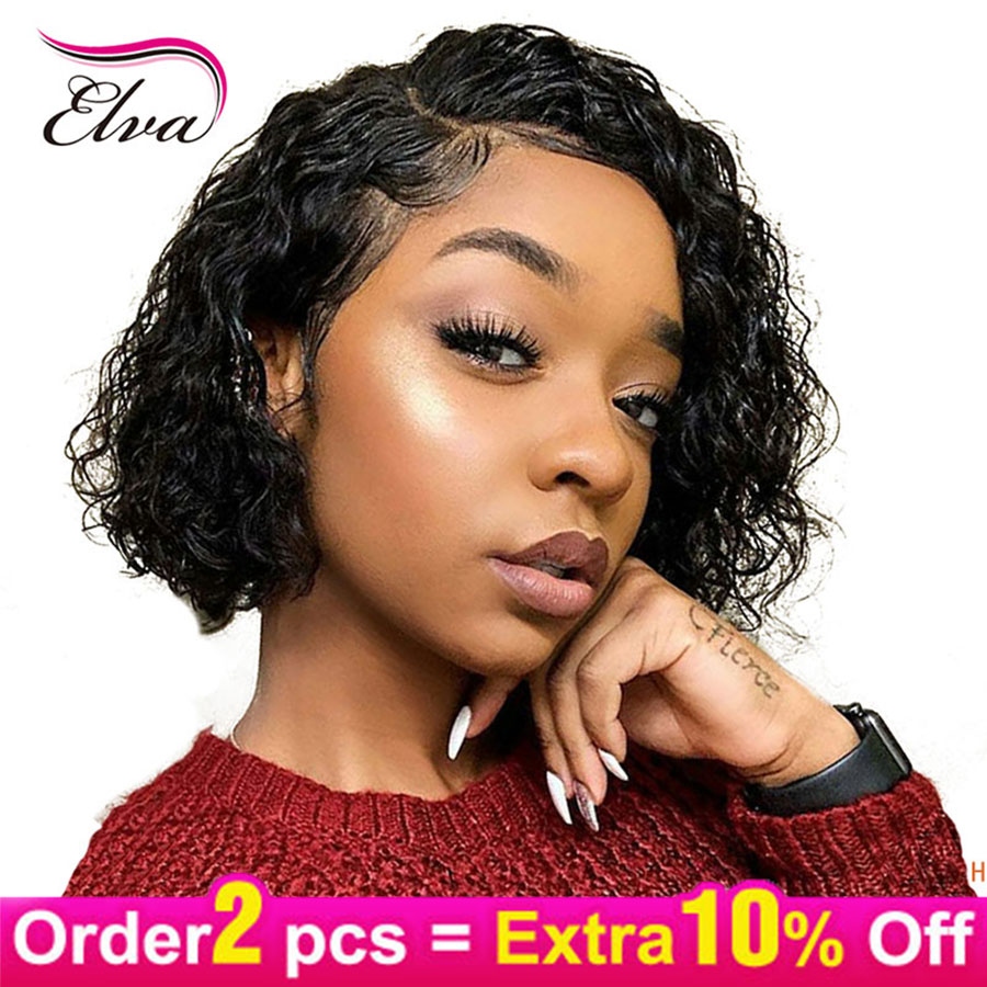 Elva Hair 13x6 Lace Front Human Hair Wigs Glueless Pre Plucked With Baby Hair Brazilian Remy Curly Hair Lace Wig For Black Women